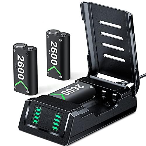 VOYEE Akku Ersatz für X-Box One Controller Akku, Ladeatation mit wiederaufladbaren 3-Pack X-Box Akkus mit 2600 mAh, Ladegeräte kompatibel mit X-Box One/X/S/Elite/X-Box Series X/S-Controller Akku