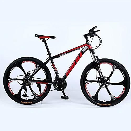 Novokart-Mountain Bike Unisex, Bicicletas montaña 21/24/27 Pulgadas, MTB para Hombre, Mujer, con Asiento Ajustable, Frenos de Doble Disco, Negro y Rojo, 6 cortadores Rueda, 21-Speed Shift
