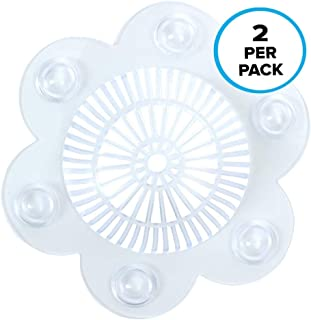 SlipX Solutions Stop-A-Clog Drain Protectors Trap Hair! 2 Hair Catchers Per Package. (Clear, Plastic, 5