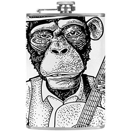 TIZORAX Affe mit Hut hält Gitarre Edelstahl Flachmann Tasche Wine Flagon Mug mit Lederbezug für Männer Frauen 227ml