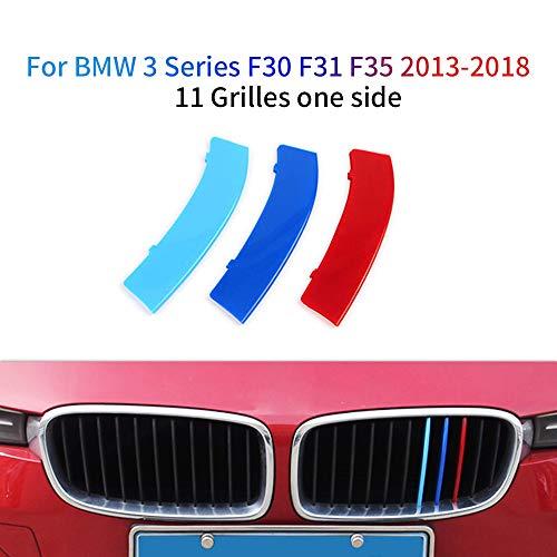 M colore Adesivi per griglia anteriore, Clip di Grille del rene, Grill Inserire copertine Per 3 Series F30 F31 F35 2013-2018 3 Pezzi (11 Rod)