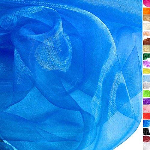 TOLKO 1m Organza Stoff als Dekostoff Meterware | Hauch Zart, Fein Durchsichtig zum Nähen Dekorieren Basteln | 145cm breit leichte Glanz Stoffe Gardine Vorhänge Tischdecken Deko Schals (Royal Blau)
