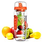 OMORC 32 OZ Sport Fruit Infuser Water Bottle, Flip Top Lid & Dual Anti-slip Grips, BPA Free Infuser Water Bottle, Free Recipes and A Cleaning Brush Gifts, Ideal for Your Office and Home(Orange)