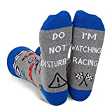 Zmart Do Not Disturb I'm Watching Racing Socks- Funny Saying Nascar Formula 1 Racing Gift for Car Lover