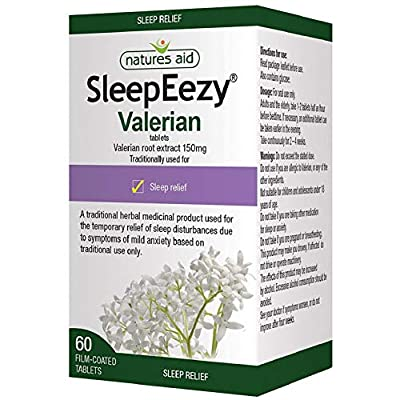 Natures Aid SleepEezy Valerian Root Extract, Relief of Sleep Disturbances, Vegan, 60 Tablets