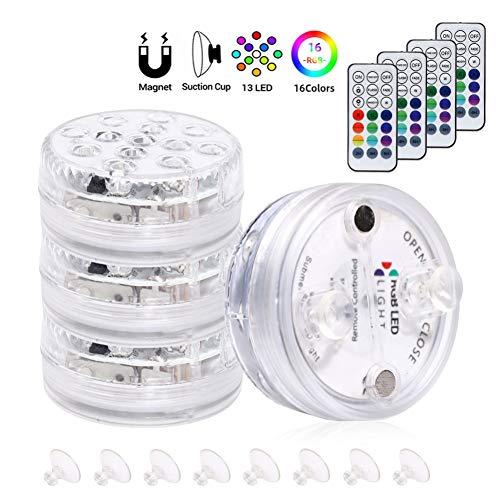 Aesyorg LED-Tauchlampe mit Saugnapf und magnetischer Infrarot- / HF-Fernbedienung IP68 wasserdicht 13 LED 16-Farben-Unterwasserleuchte für Poolbar, Badewanne, Dusche, Whirlpool