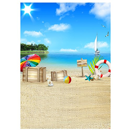 LEDMOMO 3D Fondo de Fotografía de Playa Mar Apoyos de Pared Decoraciones para Tomar Fotos para Bebé Niños 90x150cm