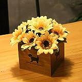 LLPXCC Flores artificiales Creativo casa floral mesa de comedor salón moderno sencillo unión flores decorativas de madera jarrones plantas flores de plástico matrimonio estudio AMARILLO GIRASOL