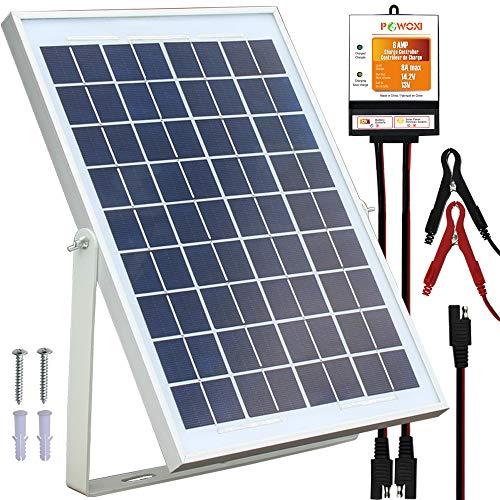 POWOXI 10W Solar Panel,12V Solar Panel Charger Kit + 8A...