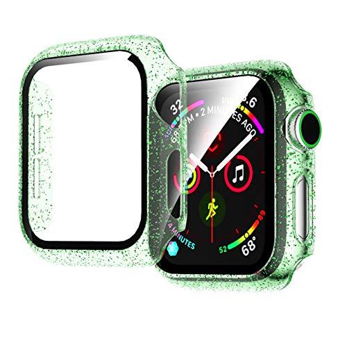 LWHAMA Lwwhama Flyuzi Glass + Funda para el Reloj de Apple Watch 44mm 40mm 42mm 38mm Accesorios Accesorios Jelly Bling Pantalla de Parachoques Protector para iWatch Series 5 4 3 6 SE