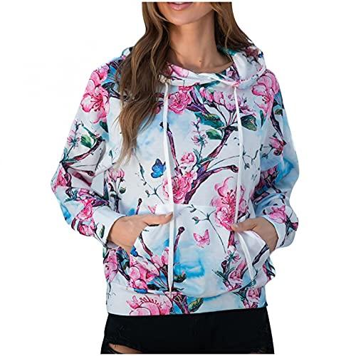 Yue668 - Sudadera con capucha para mujer, con capucha, estampado de flores, suéter de cactus de manga larga con capucha, camiseta con capucha, rosa, XL
