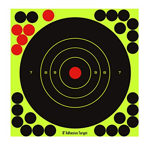 Hybsk Targets - 8 Inch Reactive Splatter Self Adhesive Shooting Targets Bright Fluorescent Yellow Upon Impact- Gun - Rifle - Pistol - Airsoft - BB Gun - Pellet Gun - Air Rifle (25 pcs)