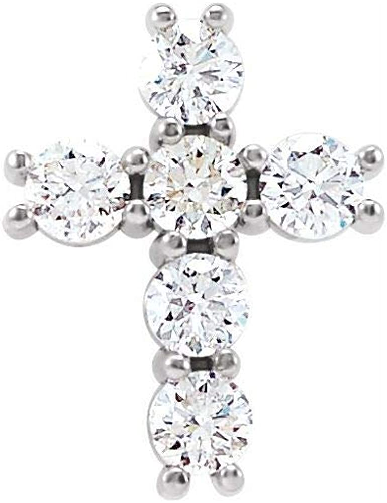 1 3 Cttw Diamond Free shipping Sale Cross Crucifix Charm Small Pendant 10mm 8.4m x