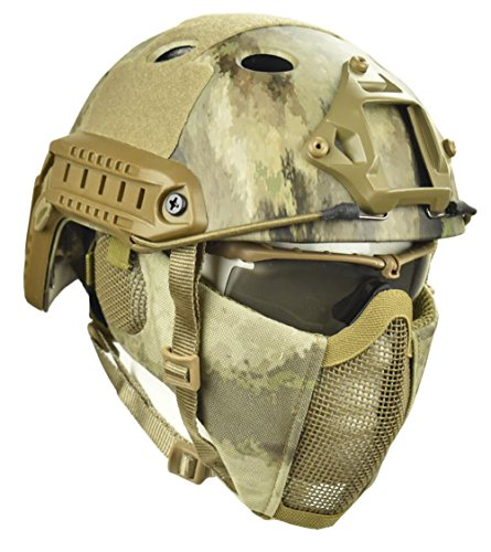 Jadedragon PJ Tactical Fast Helmet & Protect Ear Foldable Double Straps Half Face Mesh Mask & Goggle (at)
