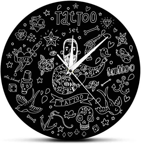 SXXXIT Reloj de Pared Estudio de Tatuajes Inspiración Símbolo Logotipo de Pared Salón de Tatuajes Reloj de Pared silencioso Reloj Máquina de Tatuaje Arte de la Pared Hipster Hombre Regalo 30X30Cm