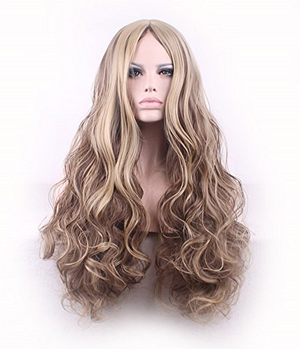 """AneShe 30"""" Women Long Curly Fluffy Blonde Full Wigs Highlights Synthetic Hair Party Wig (Blonde+Brown)"""