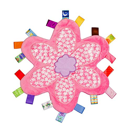 INCHANT Colorful Taggy Pink Security Blanket - Soft Touch Comforter Blankets with taggies For Newborn and Baby Girl Best Gift Plush Toys - Soft and Safety , Unique Flower Design
