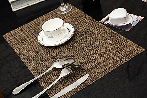 Clest F&H Set de Table Plastifié 5-5 Brun PVC Placemats Dining Table Sets Résistant à la Chaleur (Set of 2 pcs)