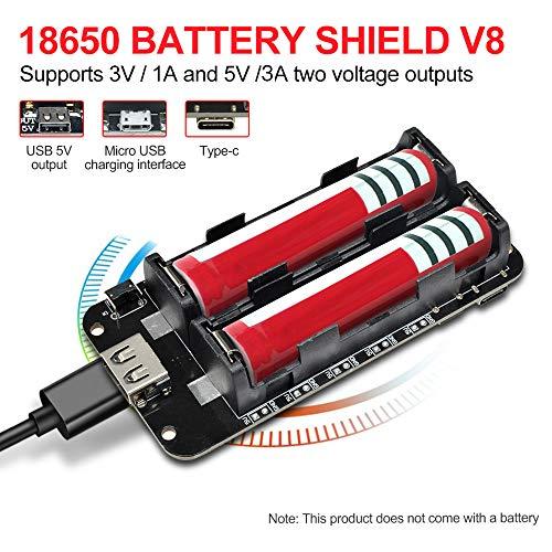diymore 18650 Battery Shield V8 3V 5V Micro-USB-Anschluss Typ C USB mit Kabel für Raspberry Pi Arduino ESP32 ESP8266 WiFi
