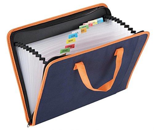 Snail&Hawk Fabric Accordion Expanding File Folder with Handle, 13 Pockets Accordian File Organizer, Zipper Closure,A4/Letter Size,Dark Blue