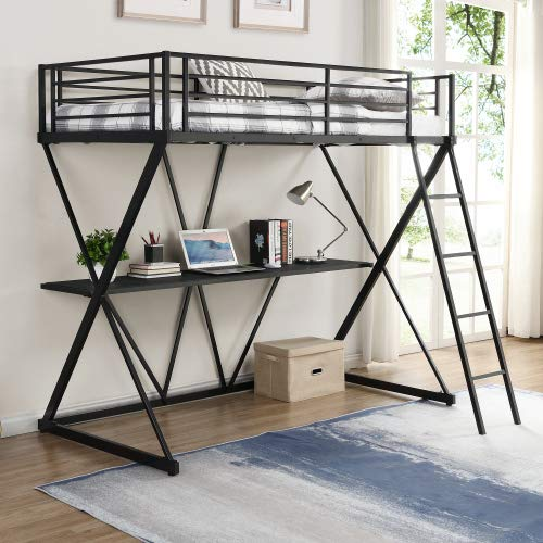 Steel Twin Loft Bed with Desk, Loft Bed with Ladder and Full-Length Guardrails, X-Shaped Frame (Black)