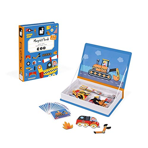 Janod MagnetiBook 69 pc Magnetic Racer Vehicles Game for Imagination Play - Book Shaped Travel/Storage Case Included - S.T.E.M. Toy for Ages 3+