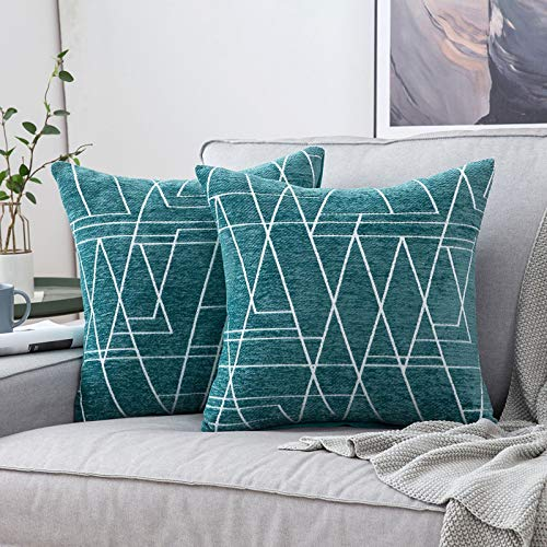 MIULEE Pack of 2 Cushion Covers, Ray Pattern Decorative Square Throw Pillow Case Pillowcases for Couch Livingroom Sofa Bed with Invisible Zipper 45cm x 45cm,18x18 Inches, 2 Pieces Teal