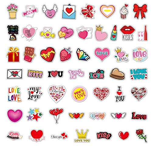 Janly Clearance Sale Wall Sticker, 50pc Valentine's Day Graffiti Stickers Waterproof Suitcase Refrigerator Stickers, for Christmas Home & Garden Decorate, (Multicolor)