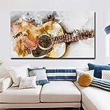 XCSMWJA Cuadro sobre Lienzo Guitarra Moderna Lienzo Pintura HD Acuarela Arte Carteles Y Grabados Pared Arte Imagen para Sala De Estar Hogar Decoración Sin Marco 40x60cm
