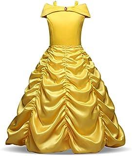 22176949d6896 Fille – Robe de Princesse avec Bretelles Déguisement de La Belle et La Bête  Cosplay Jupe