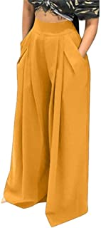 NRTHYE Womens Palazzo Long Pants High Waist Wide Leg Stretchy Loose Fit Casual Trousers with Pocket