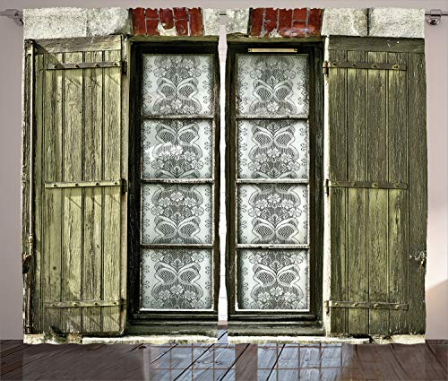 Ambesonne Country Curtains,European French Window and Brick with an Antique Design Opening The Shutters in a Vintage Style Art, Living Room Bedroom Window Drapes 2 Panel Set, 108