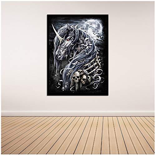 Skelet Paard Woondecoratie Woondecoratie Canvas Schilderij Poster Jongenskamer Schilderijen Wall Art Print op canvas -60x80cm Geen lijst