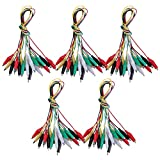 Tbestmax 50 Pcs 5 Colors Alligator Clips Test Lead Set, 50cm/19 inches (5 Pack)