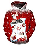 Neemanndy Unisex Ugly Christmas Sweater Hoodies Music Santa Hooded Long Sleeve Sweaters for Men and Women, X-Large