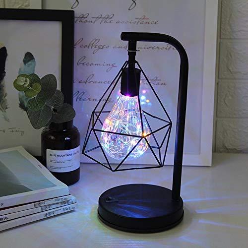 weichuang Luz nocturna LED de hierro forjado de noche creativa lámpara de mesa LED retro dormitorio decoración de mesita de noche (color emisor: blanco cálido)