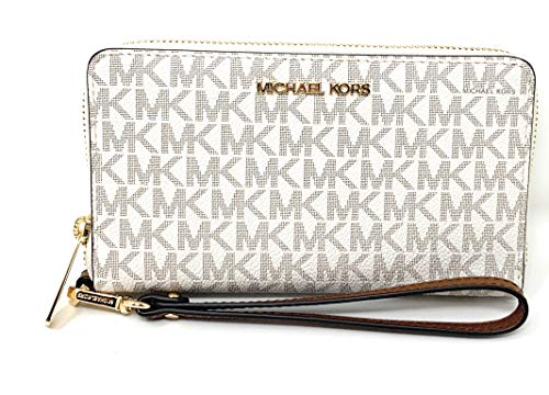 Michael Kors Women's Jet Set Travel Medium Zip Around Phone Holder Wallet, Vanilla