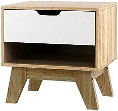Artiss Bedside Table Wooden Side Table 46.5cm Height for Livingroom Bedroom, White & Wood