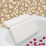 AnnSpa Almohada de Baño, Almohadas para bañera con 7 Ventosas Antideslizantes, Diseño de 2 Paneles para Cabeza, Cuello y Espalda, Ideal para Jacuzzi SPA e Hidromasajes (14.5' x 11')