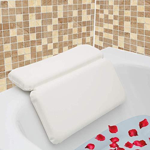 AnnSpa Almohada de Baño, Almohadas para bañera con 7 Ventosas Antideslizantes, Diseño de 2 Paneles para Cabeza, Cuello y Espalda, Ideal para Jacuzzi SPA e Hidromasajes (14.5