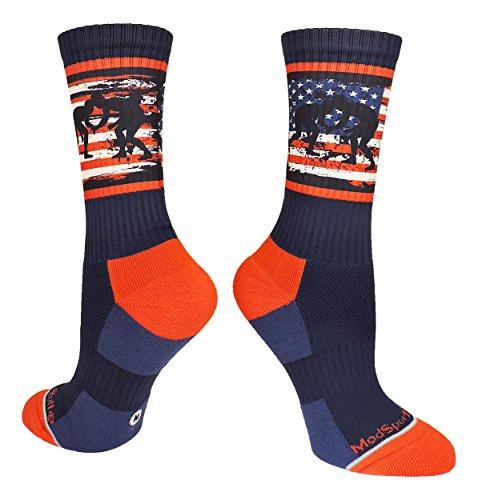 MadSportsStuff Socken mit USA-Flagge, Fighting Wrestlers, Herren, Navy/Rot/Weiß, Large