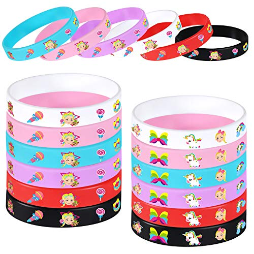 24pcs JoJo Bracelets - JoJo Unicorn Birthday Party Favors Supplies - Rubber Wristband Toy Princess Dress up Costume Gift for Kids Toddler Teen Girls - Baby Shower Goodie Bag Stuffer Carnival Prize