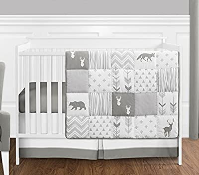 Grey and White Woodsy Deer Boy, Girl, Unisex Baby Crib Bedding Set by Sweet Jojo Designs - 4 Pieces
