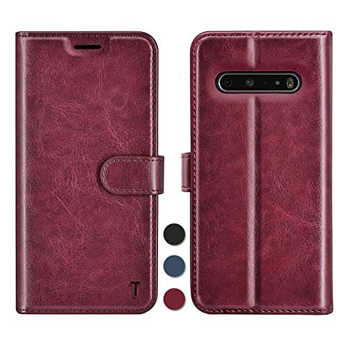 Njjex LG V60 ThinQ 5G Hülle, G9 Brieftaschen-Schutzhülle, RFID-blockierendes Luxus-PU-Leder, Klappetui mit Kreditkartenfächern, Standfunktion, Magnetverschluss, Handyhülle für – Weinrot