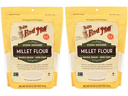 Bob's Red Mill Millet Flour   Gluten Free Whole Grain Flour   20 Ounce Resealable Pouch   Pack of 2