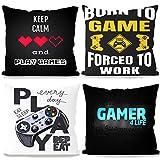 BAIBEI Fundas de Cojín de Videojuegos, 4pcs Game Among Us Throw Pillow de Almohada Decorativas para sofá para cojín Cuadrado de 45 x 45cm, para sofá, sillón, Cama y Coche, Negro