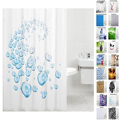 Sanilo Duschvorhang, viele schöne Duschvorhänge zur Auswahl, hochwertige Qualität, inkl. 12 Ringe, wasserdicht, Anti-Schimmel-Effekt (180 x 180 cm, Water Balls)