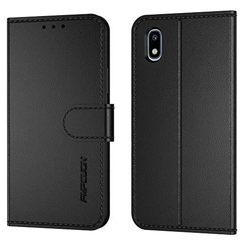 FMPCUON Handyhülle Kompatibel mit Samsung Galaxy A10(Neueste),Premium Leder Flip Schutzhülle Tasche Case Brieftasche Etui Hülle für Galaxy A10(6,2 Zoll),Schwarz