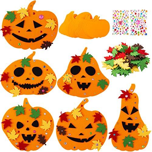 Sunolga Felt Halloween Pumpkin Decorations DIY 30 Pumpkin Craft Kits with Rhinestone Stickers Fall Maple Leaves for Kids Halloween Thanksgiving Decoration