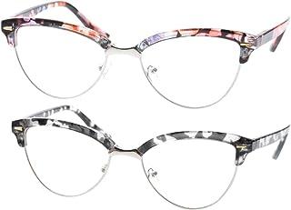 c2c3c9541218c SOOLALA Womens Mens 2 Pairs Fashion Designer Semi-rimless Cat Eye Reading  Glasses